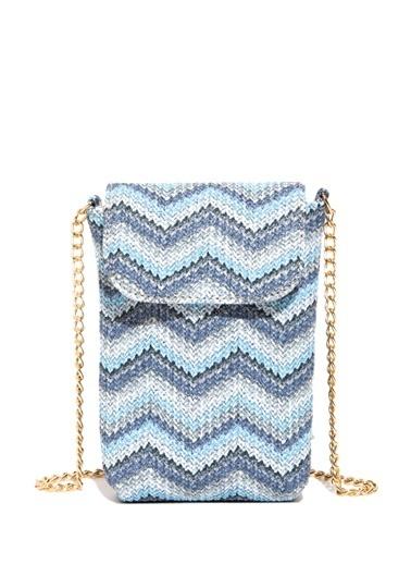 Mavi Hasır Mini Çapraz Çanta Mavi